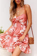 Venidress Spaghetti Strap Floral Print Pink Mini Dress