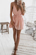 VenidressSexy Deep V Neck Dew Shoulder  Pink Mini Dress