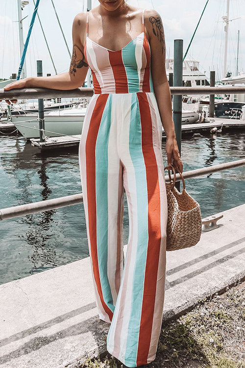 Venidress Striped Loose Multicolor Jumpsuit