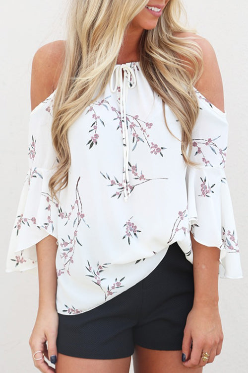 Venidress Lace-up Floral Printed White Shirts