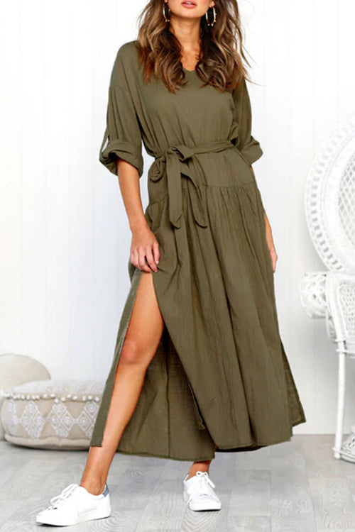 Venidress Trendy Kick Pleat Green Blending Ankle Length  Dress (With Belt)