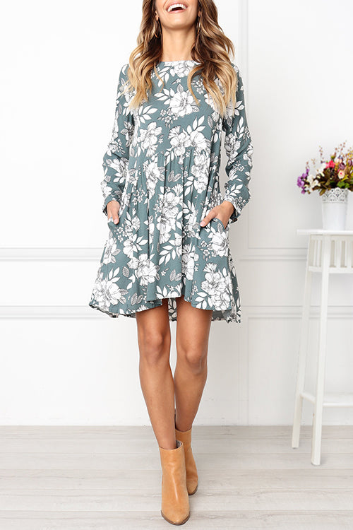 Venidress Long Sleeves Floral Printed Mini  Dress