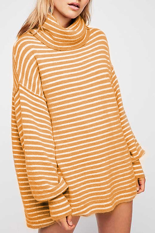 58a6d27296 ... Venidress Long Sleeves Striped Mini Sweater Dress ...