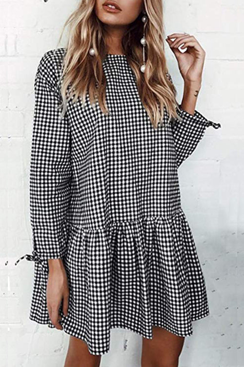 Venidress  Sweet Tartan Plaid Mini Dress