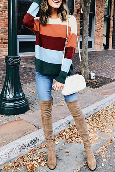 Venidress Casual Color-lump Patchwork Sweaters