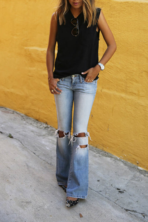 Venidress Casual Hollowed-out Jeans