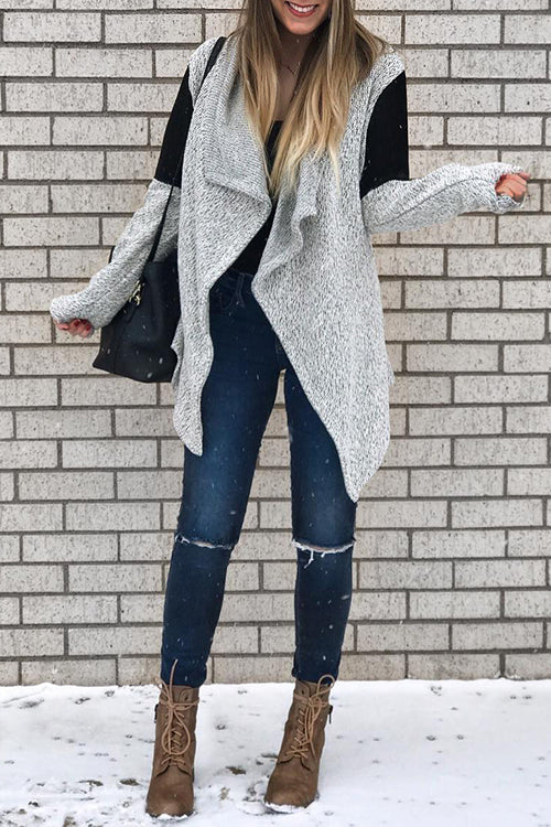 Venidress Casual Long Sleeves Patchwork Cardigan