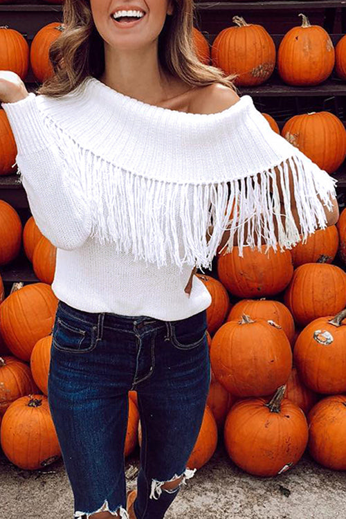 Venidress Casual Solid Tassel Off Shoulder Sweater