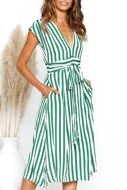 Venidress Casual Striped Mid Calf  Dress
