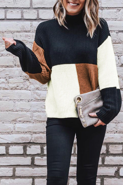 Venidress Casual Long Sleeves Patchwork Sweater