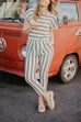 Venidress West End Cotton Striped Pocketed Jumpsuit