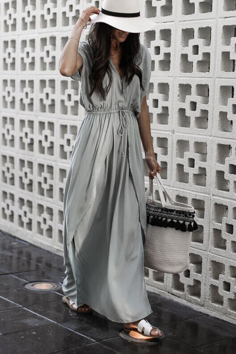 Venidress V Neck Drawstring Ankle Length Dress
