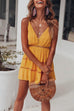 Venidress V Neck Patchwork Yellow Mini Dress