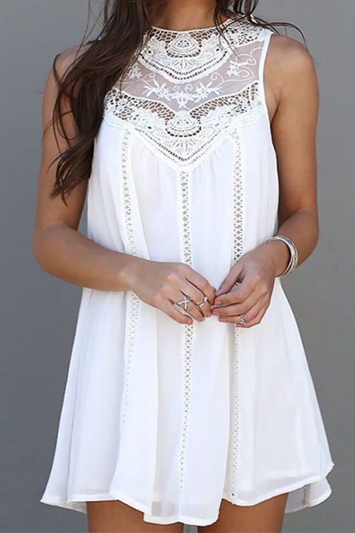 Venidress White Bubble Lace Splicing Mini Dress