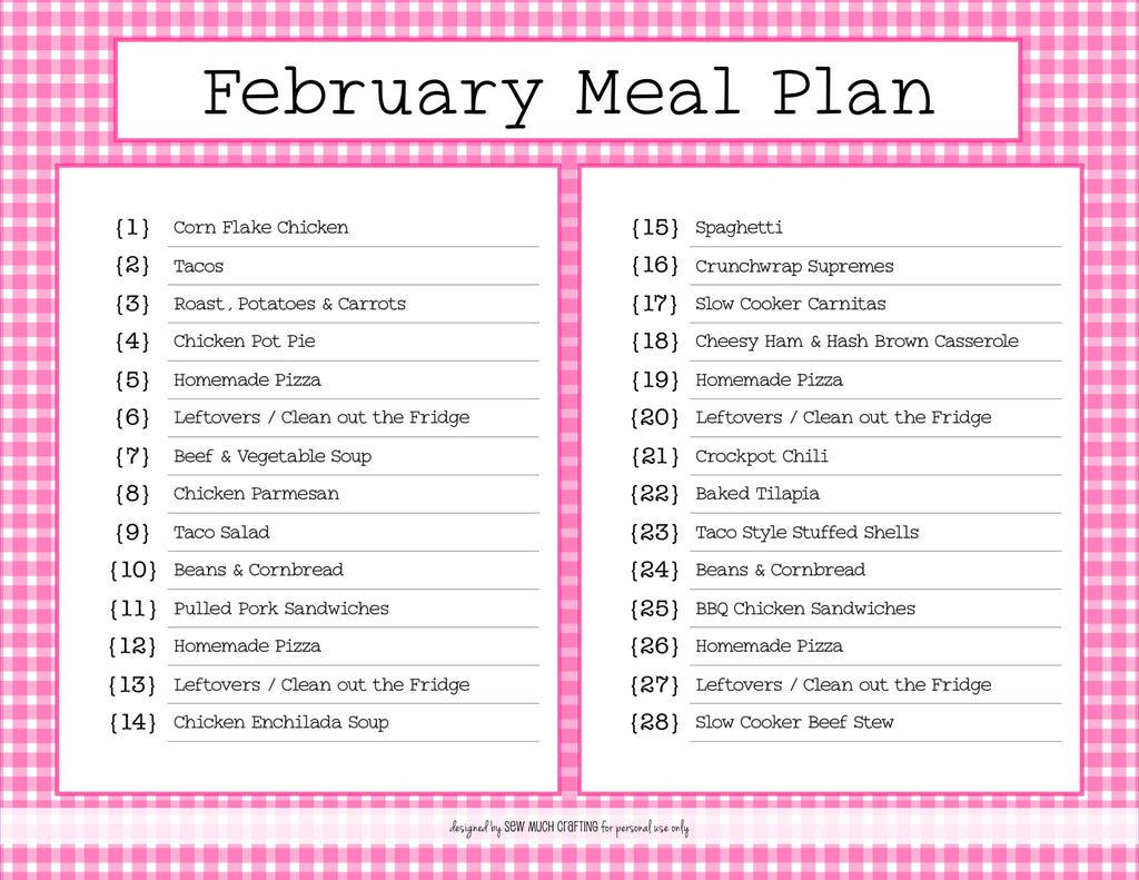 Our February Monthly Meal Plan (and FREE Printable)