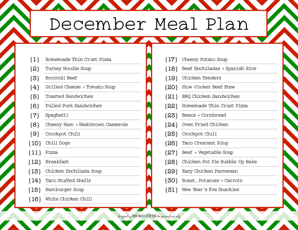 Our December Monthly Meal Plan (and FREE Printable)