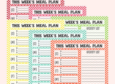 FREE Weekly Meal Planning Printables