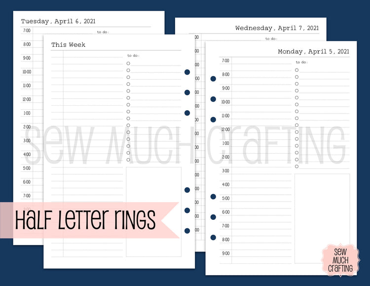 DATED Day on One Page Inserts for Rings