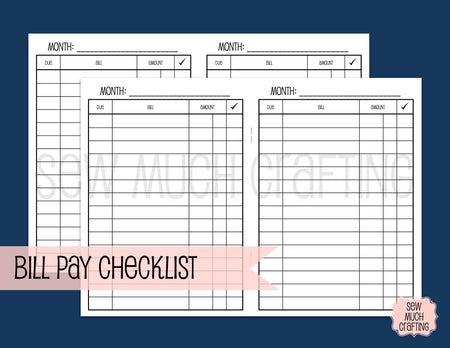Bill Pay Checklist for Traveler's Notebooks