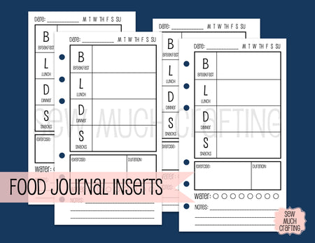 Food Journal Inserts for Rings