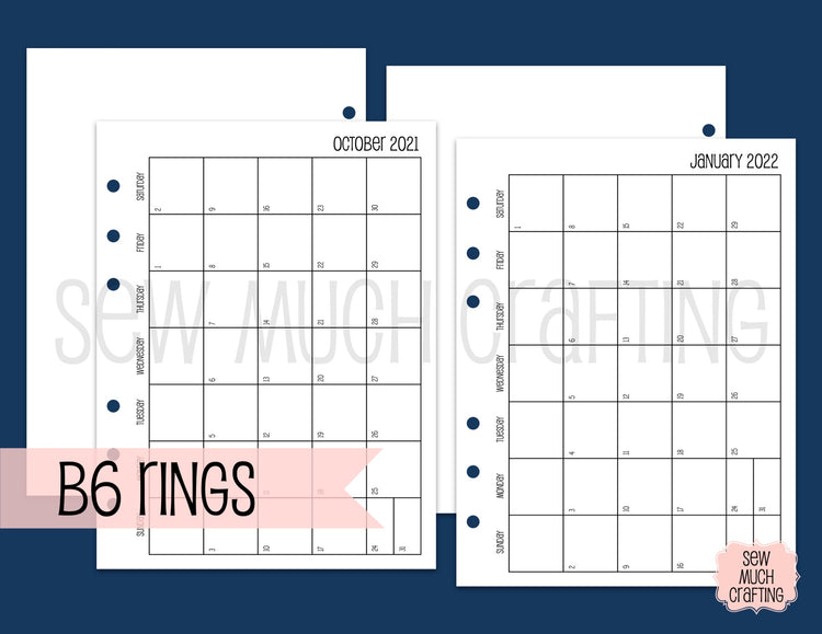 Month on One Page Inserts for Rings {CHOOSE A SIZE}