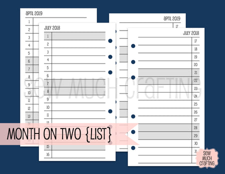 Month on Two Page Inserts in LIST Format for Rings {CHOOSE A SIZE}