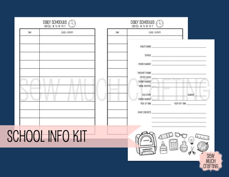 School Information Kit for Traveler's Notebooks