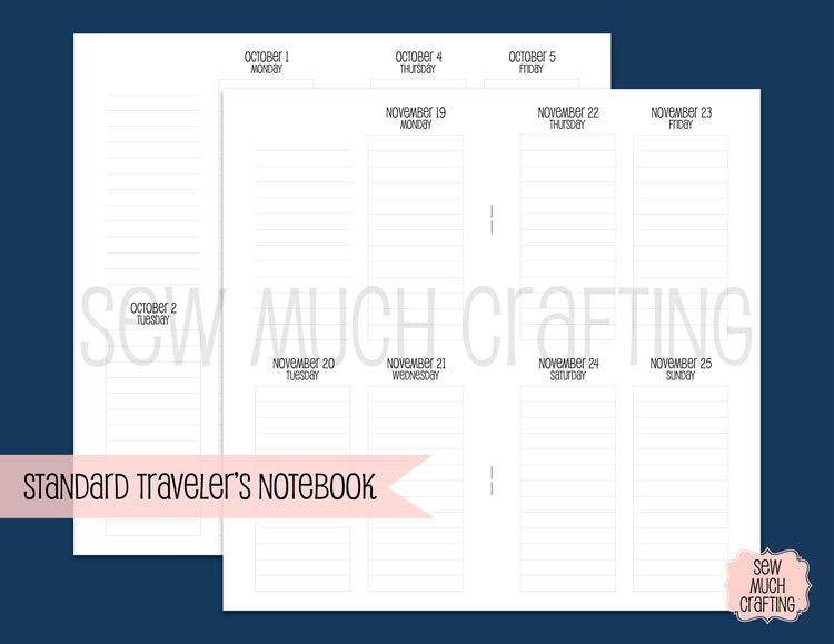Vertical LINED Week on Two Page Inserts for Traveler's Notebooks {CHOOSE A SIZE}