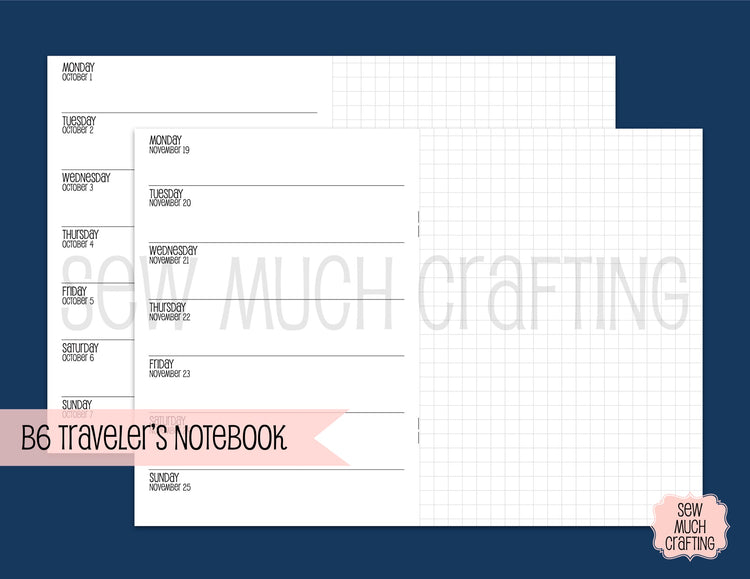 Week on One Page with Grid for Traveler's Notebooks {CHOOSE A SIZE}
