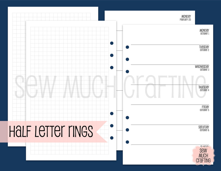Week on One Page with Grid for Rings {CHOOSE A SIZE}