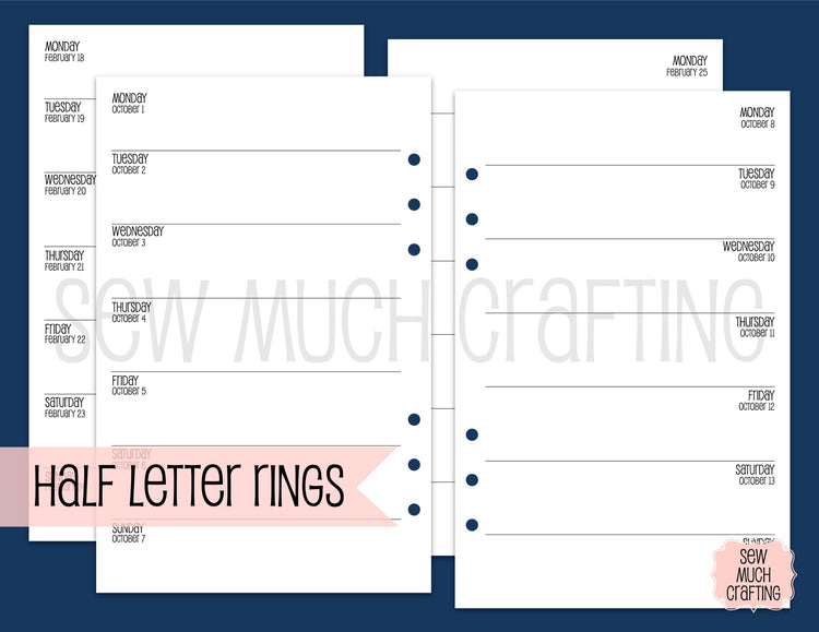 Week on One Page NO Grid for Rings {CHOOSE A SIZE}