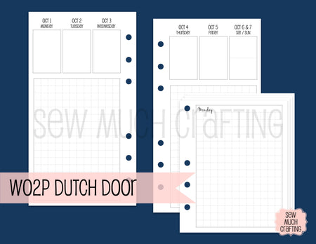 Week on Two Page Dutch Door Inserts for Rings {CHOOSE A SIZE}