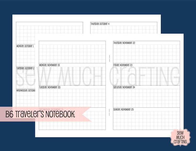 Week on Two Grid Horizontal for Traveler's Notebooks {CHOOSE A SIZE}