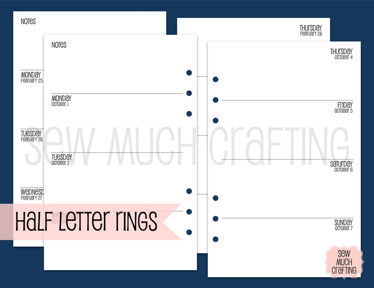 Week on Two Page Inserts for Rings {CHOOSE A SIZE}