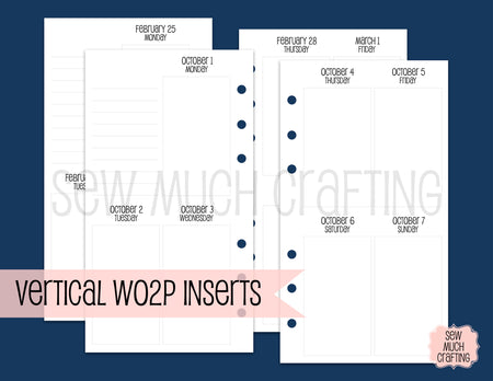 Vertical Week on Two Page Inserts for Rings {CHOOSE A SIZE}