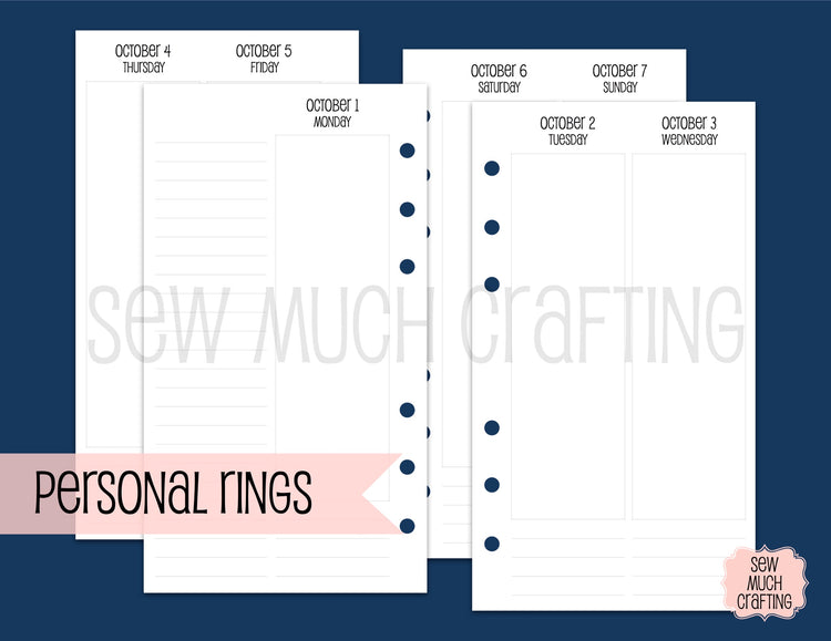 Vertical Week on Four Page Inserts for Rings {CHOOSE A SIZE}