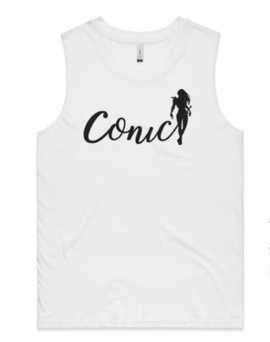Conic Women's White Muscle Tee .  SOLD OUT