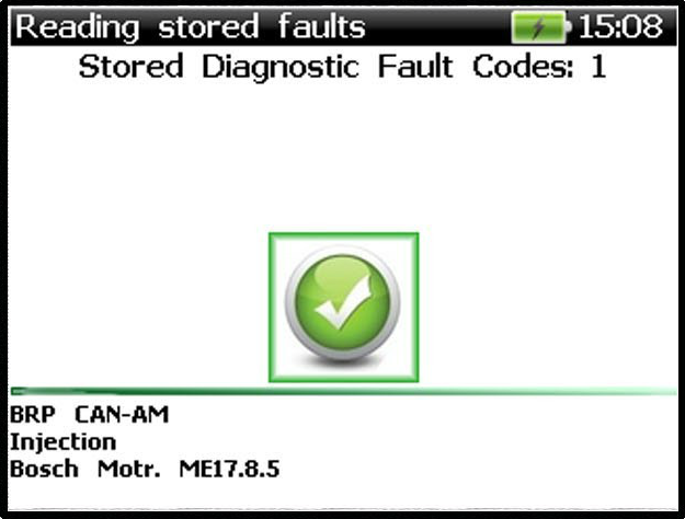 Motorcycle & ATV Diagnostic Scan Tool Fault Codes Found Screen Output - ANSED Diagnostic Solutions LLC