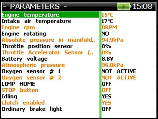 Motorcycle & ATV Diagnostic Scan Tool Parameters Screen Output - ANSED Diagnostic Solutions LLC