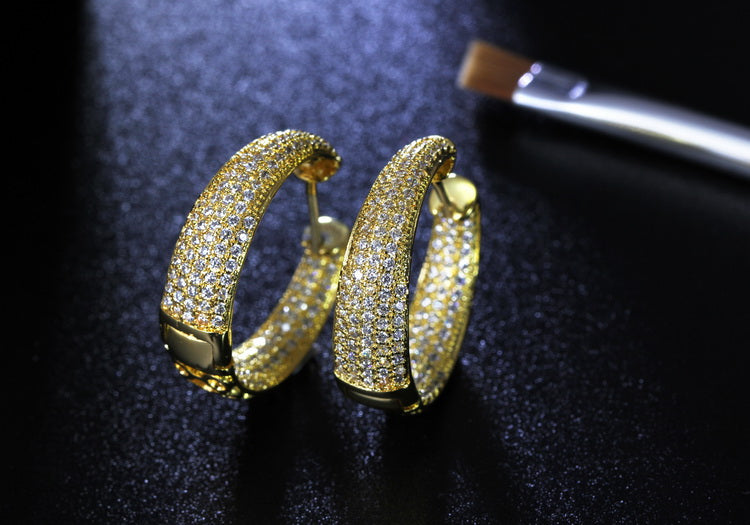 Gold Diamond Paved Earrings