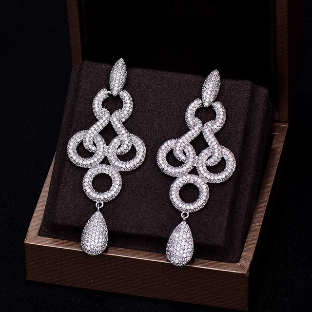 Diamond Silver Dangle Earrings
