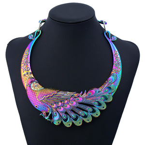 Splendid Carved Peacock Collar Statement Necklace