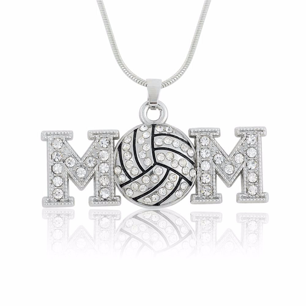 Luv Mom Rhinestone Pendant Necklaces