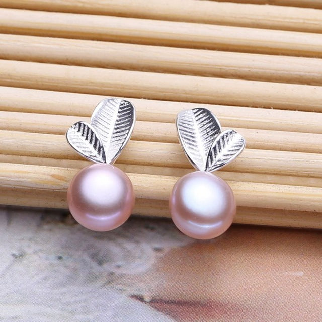 Sensational Stirling Double Leaf Pearl Earrings