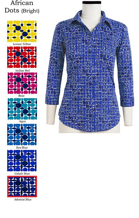 Katharine Shirt Shirt Collar 3/4 Sleeve African Dots Bright in Admiral Blue