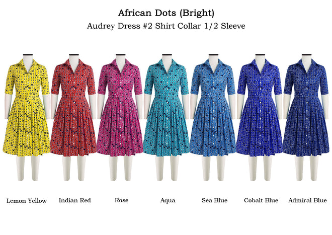 Audrey Dress #2 Shirt Collar 1/2 Sleeve in African Dots Bright