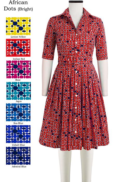 Audrey Dress #2 Shirt Collar 1/2 Sleeve African Dots Bright in Indian Red