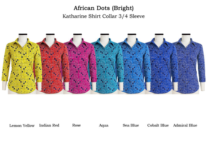Katharine Shirt Shirt Collar 3/4 Sleeve in African Dots Bright