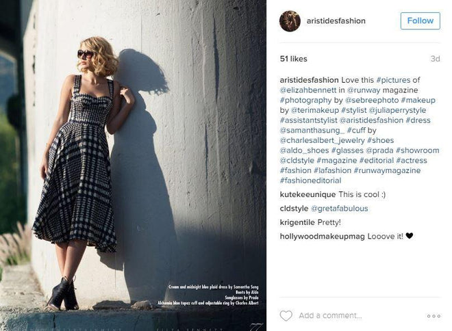 Stylist JOAQUIN ARISTIDES FLORES Posts SAMANTHA SUNG on INSTAGRAM