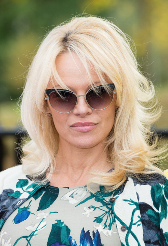 Model/Actress Pamela Anderson wears SAMANTHA SUNG Dress